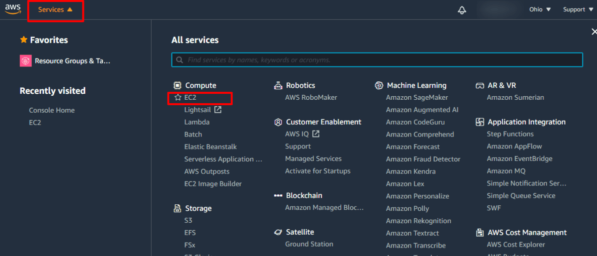 launch ec2 instance in aws  select EC2 service