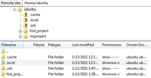 Figure 11 - Connect to EC2 File Directory using Filezilla.
